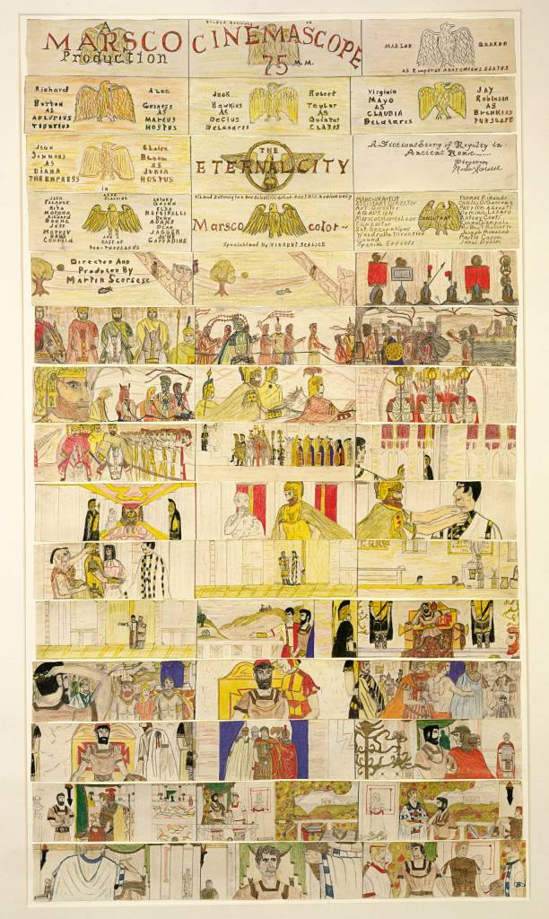 """Storyboards Martin Scorsese drew when he was 11-yrs old for a Roman epic: """"The Eternal City"""
