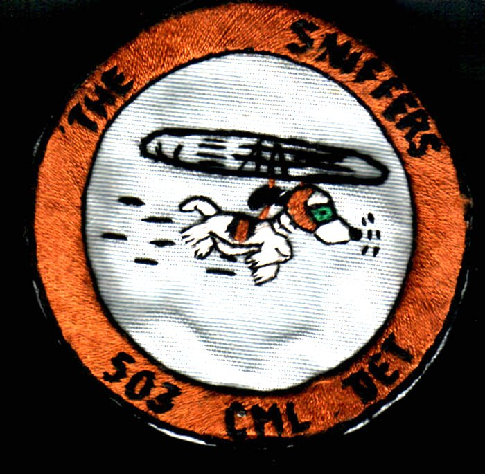 "The Sniffers"" pocket patch of the 503rd - The 503rd Chemical detachment was allocated to the 199th Infantry Brigade in 1966 and served with the Brigade in the III Corpr Tactical Zone of South Vietnam. The unit operated helicopter borne ""people sniffer"" apparatus; the sensitivity of the apparatus tuned mainly to detecting the ammonia released in human urine."