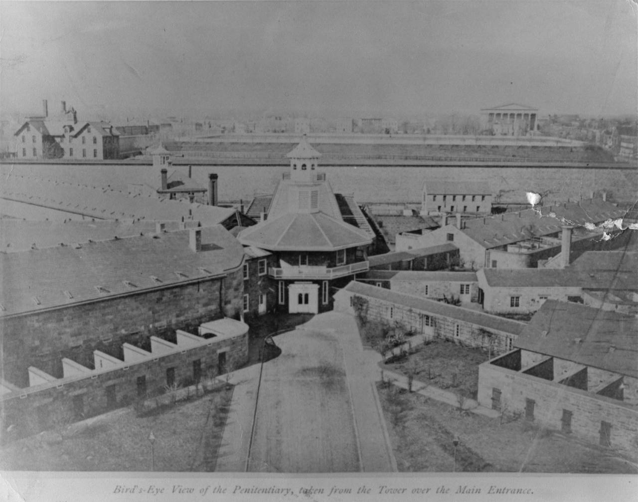 View from the Administration Building, c. 1870. Photo: collection of Eastern State Penitentiary Historic Site, gift of Jack Flynn.