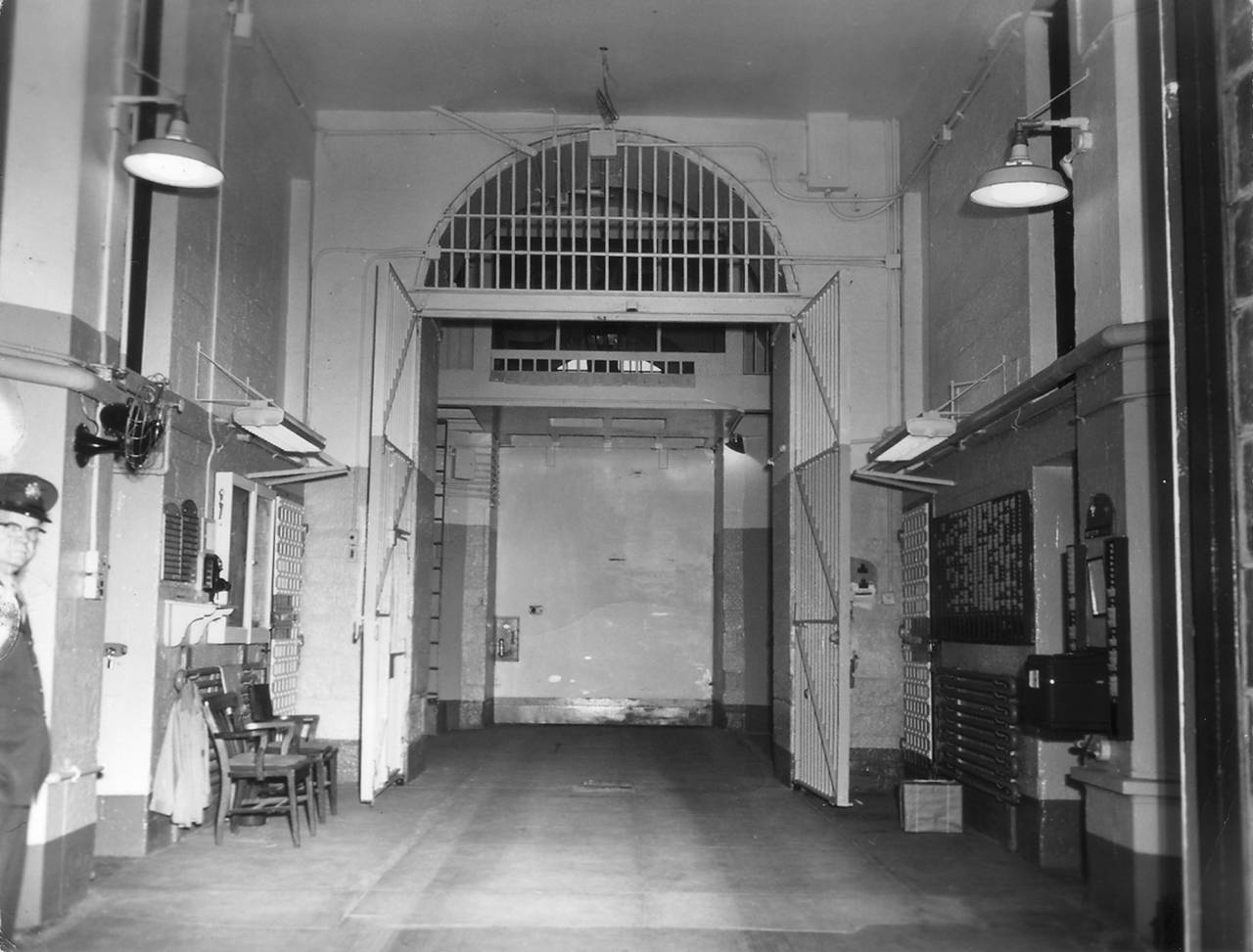 Inside of the gatehouse, c. 1960. Photo: collection of Eastern State Penitentiary Historic Site, gift of the Scheerer Family.