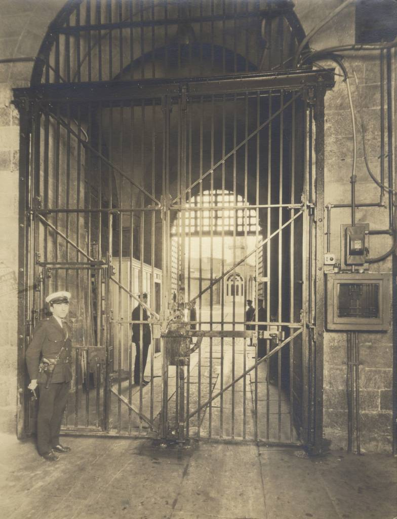 Inside of the gatehouse, c. 1930s. Photo: collection of Eastern State Penitentiary Historic Site.