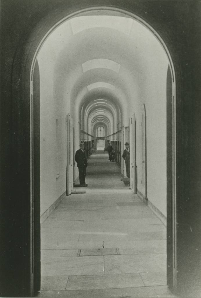 Cellblock 3 corridor, c. 1897. Photo: collection of Eastern State Penitentiary Historic Site, from Warden Cassidy on Prisons and Convicts.