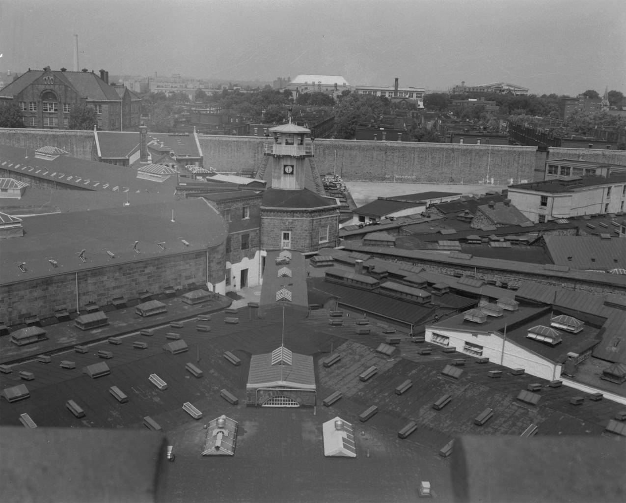View from the Administration Building, c. 1960. Photo: collection of Eastern State Penitentiary, gift of Alan J. LeFebvre.