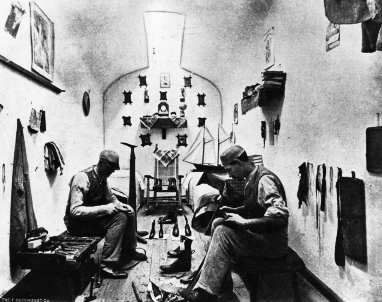 Inmates shoemaking, c. 1897. Photo: collection of Eastern State Penitentiary Historic Site, from Warden Cassidy on Prisons and Convicts.