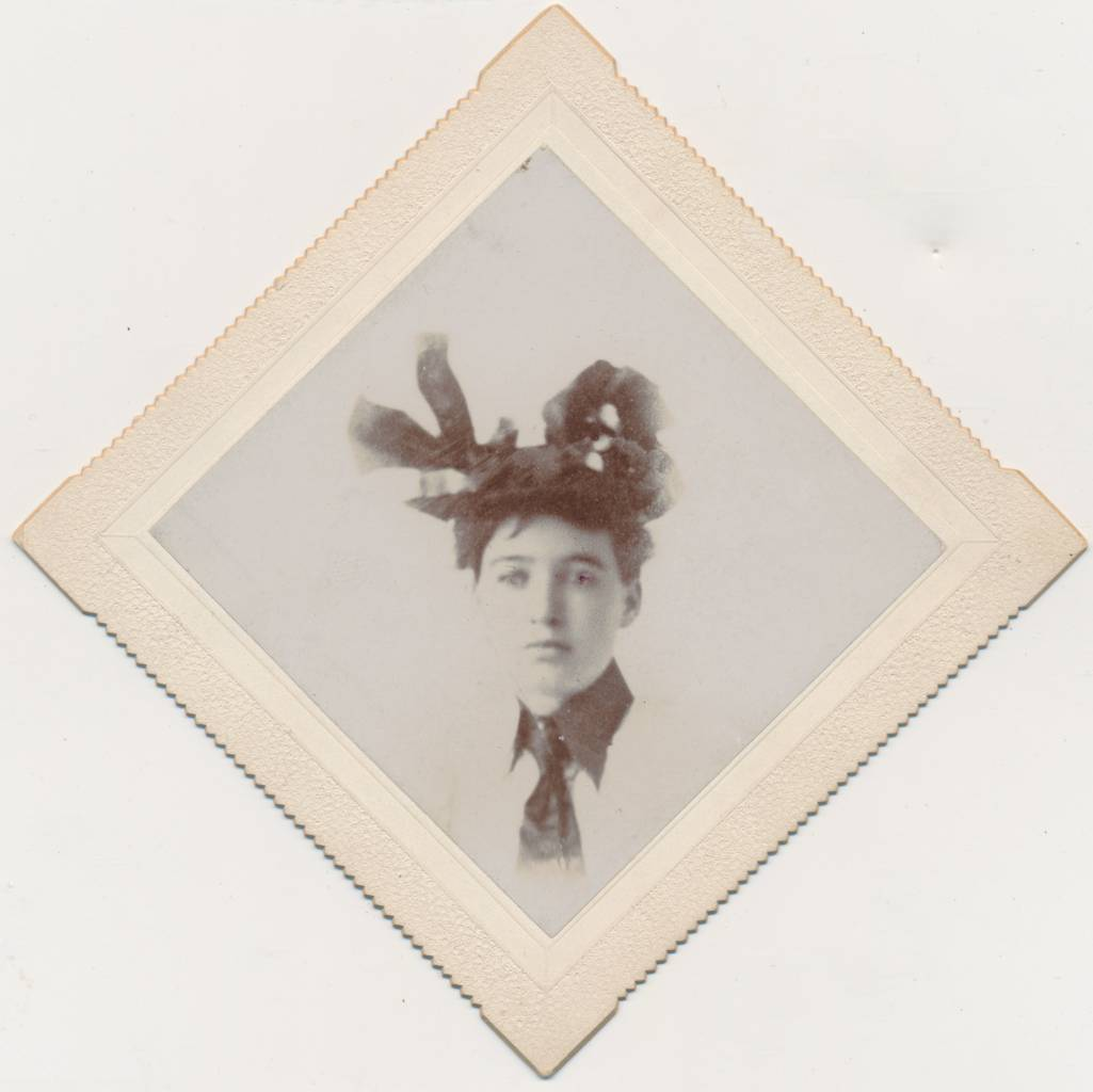 """The back of this one has a penciled price --- $3. Also, unusually, there is this printed designation: """"J. A. Heislet, Photographer, Bangor, Pa."""" I remember being excited the moment I laid eyes on this one. [A Glum, Wanton Beauty]"""