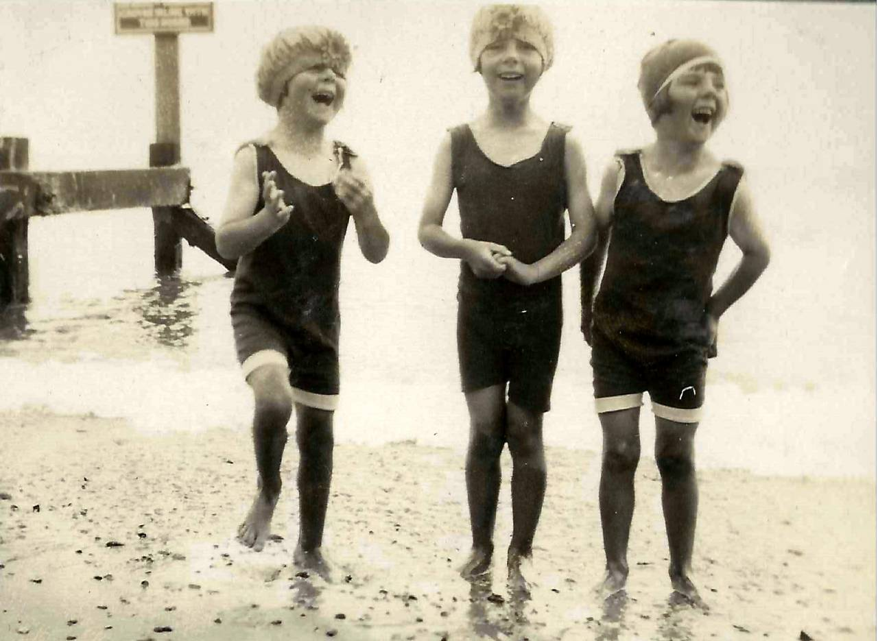 The girls on a visit to the beach in Lowestoft, Suffolk, in July 1928.
