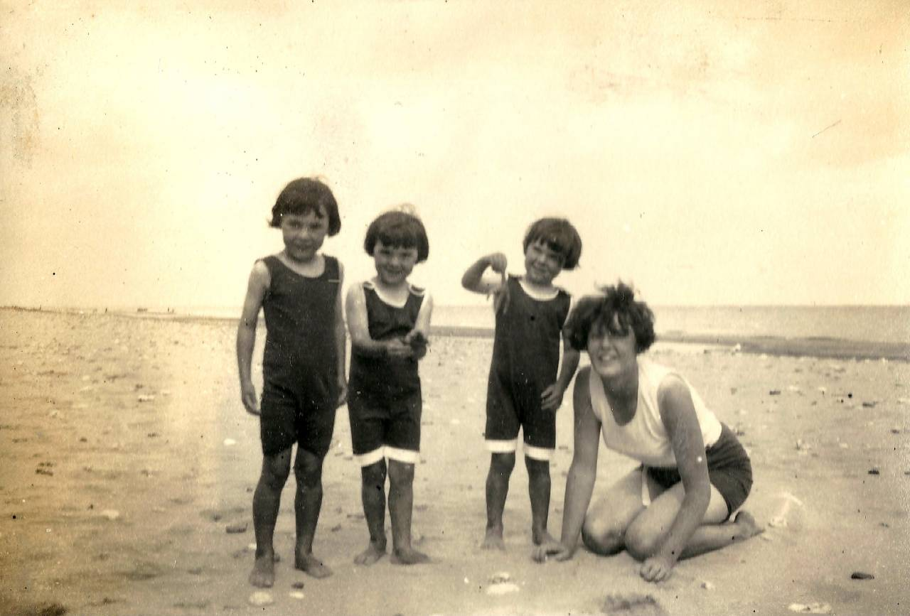 Pics 1 and 2 posed with the woman were made on the beach at Waxham, Norfolk, in August 1927. The woman's relationship to the girls is unclear--perhaps their mother or an aunt.