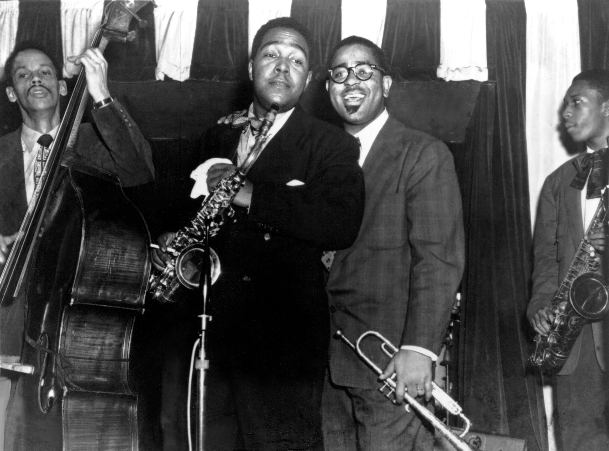 No Merchandising. Editorial Use Only. No Book Cover Usage Mandatory Credit: Photo by Everett/REX/Shutterstock (477440ba) Charlie Parker, Dizzy Gillespie and a young John Coltrane JAZZ AND BLUES MUSICIANS