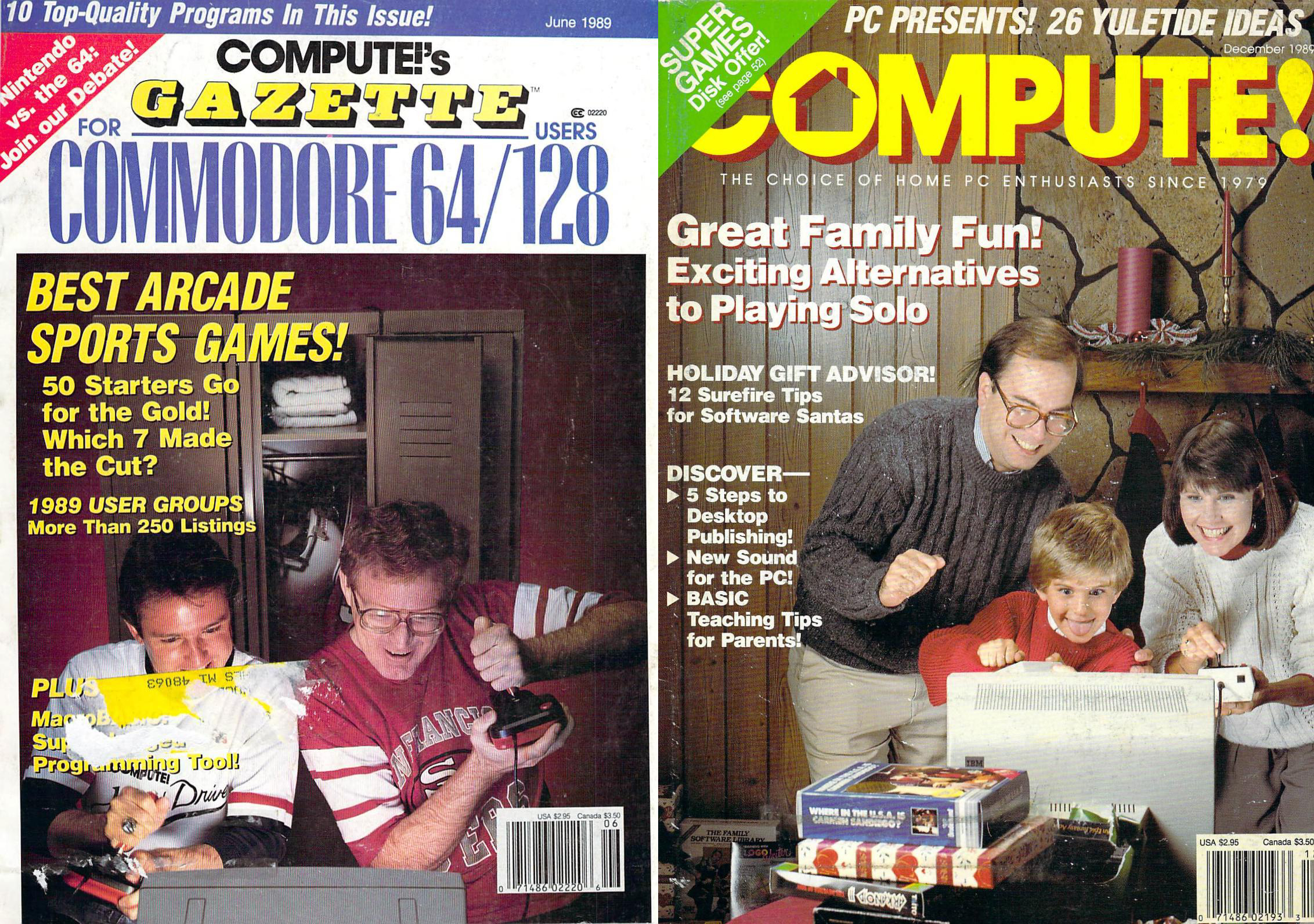 (Left) Computer Gazette - June 1989, (Right) Compute! - Dec. 1989
