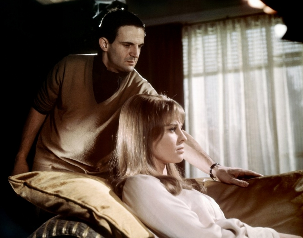 Director François Truffaut and Julie Christie on the set of Fahrenheit 451, 1966