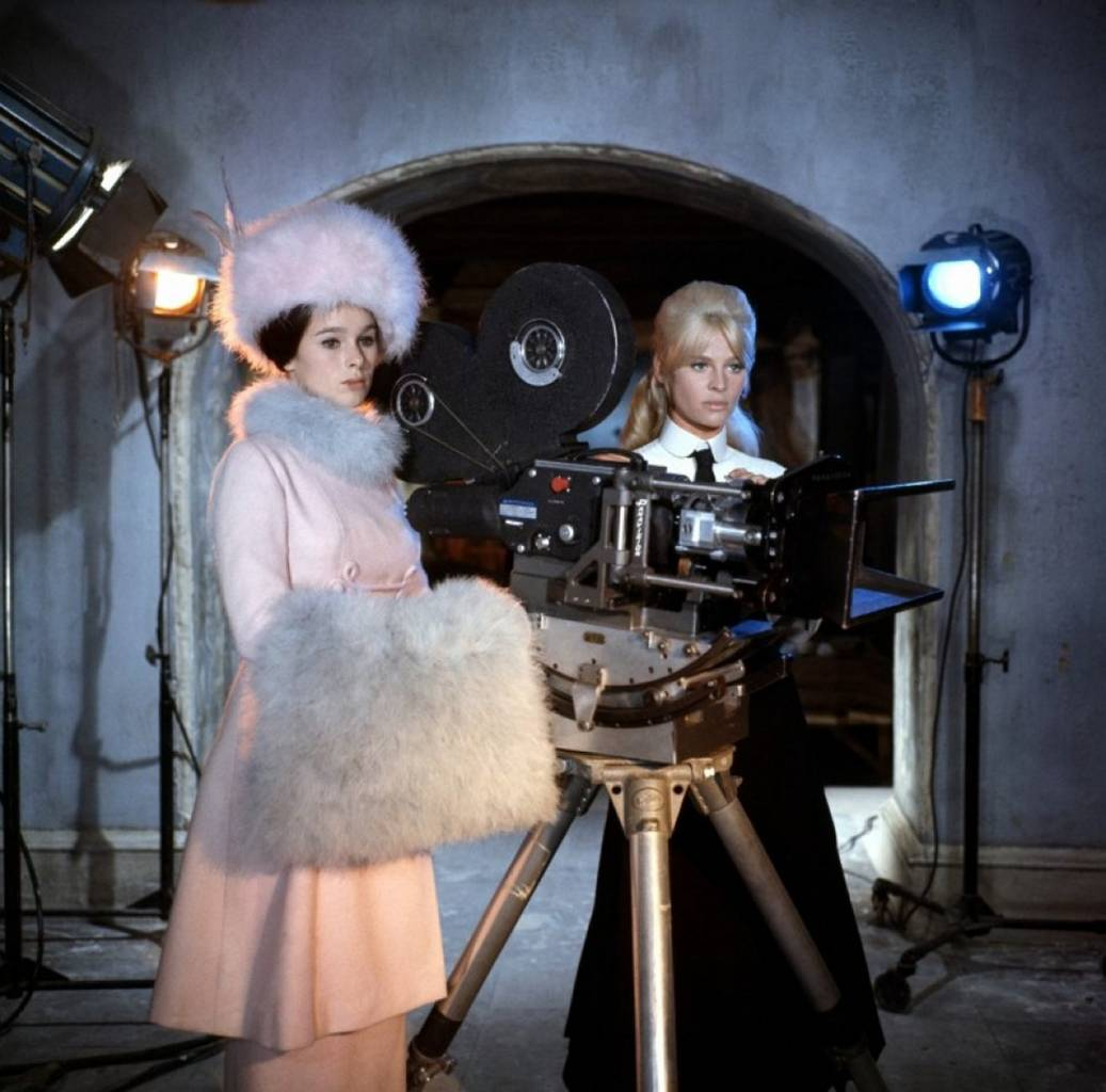 Geraldine Chaplin and Julie Christie on the set of Doctor Zhivago directed by David Lean, 1965
