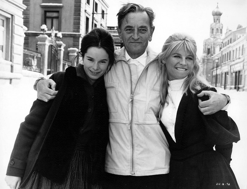 Geraldine Chaplin, director David Lean and Julie Christie on the set of Doctor Zhivago, 1965