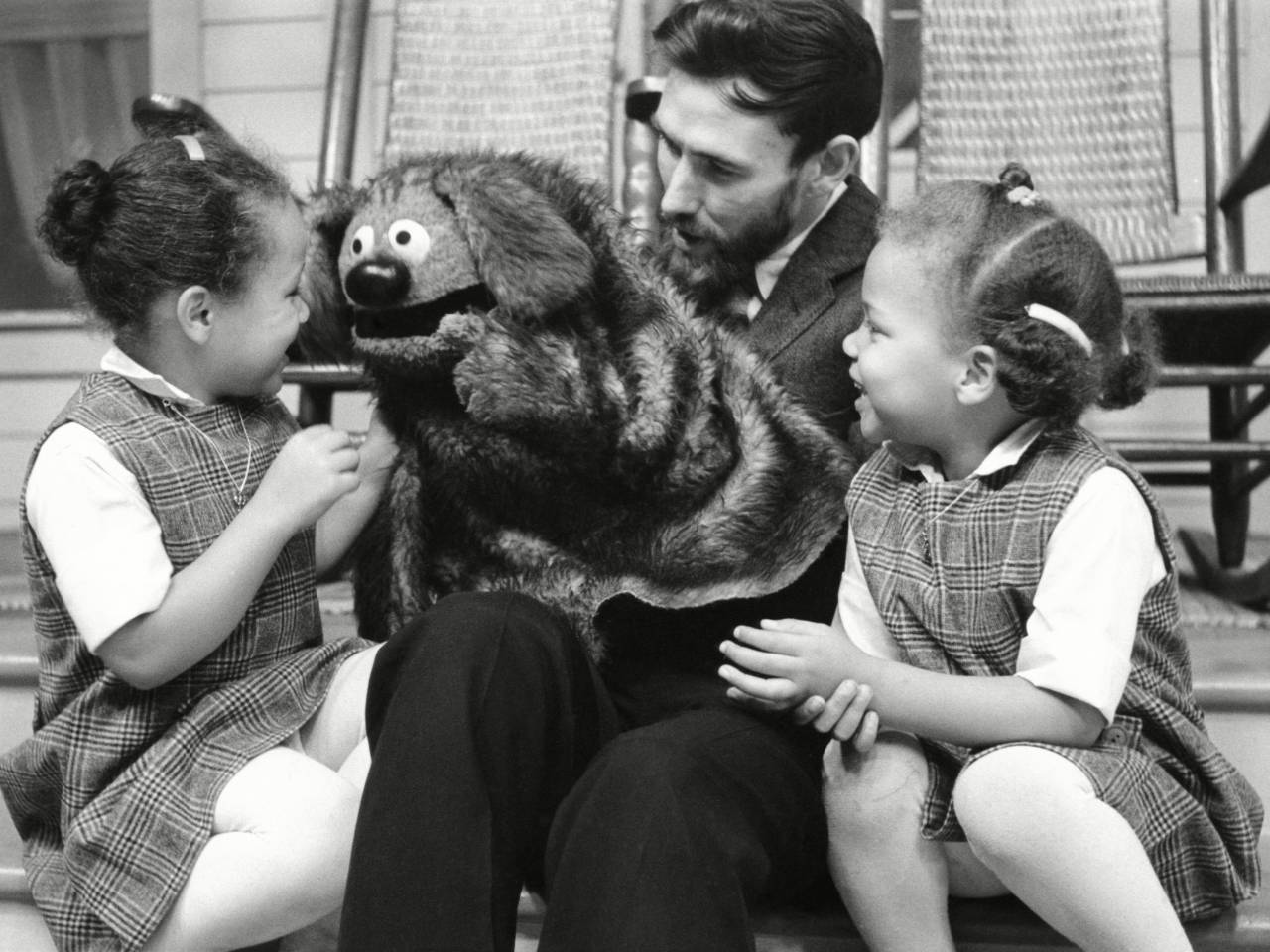 No Merchandising. Editorial Use Only. No Book Cover Usage Mandatory Credit: Photo by Everett/REX/Shutterstock (1195878a) 'The Jimmy Dean Show' - Jim Henson with Rowlf the Dog on set with children 'The Jimmy Dean Show' TV programme