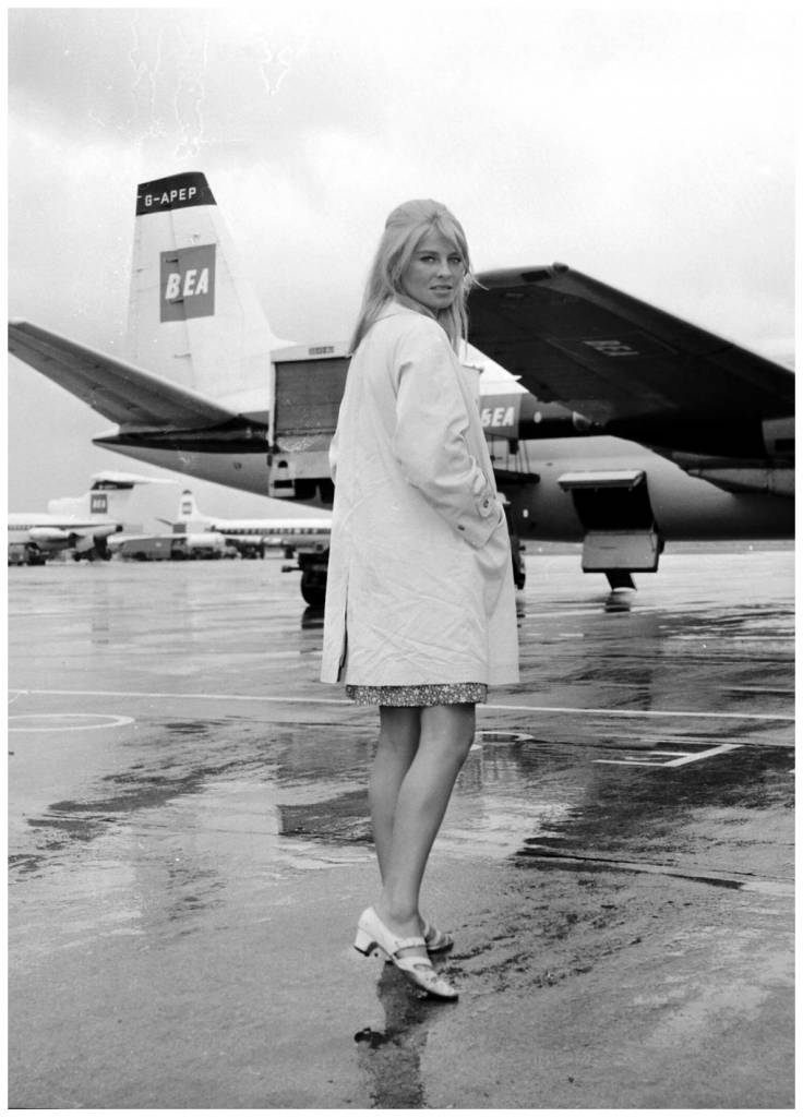 Julie Christie at Heathrow in 1965.