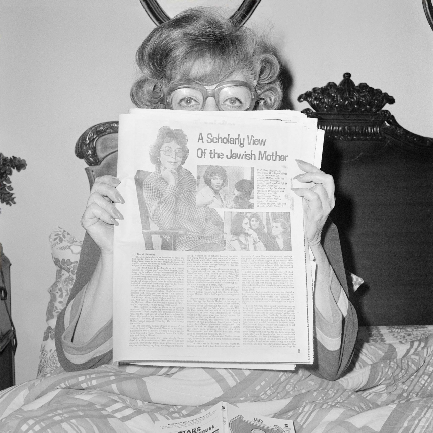 "Mom( Sylvia """"Sunny"""" Schulman Meisler) Reading A Scholarly View of the Jewish Mother, Thanksgiving, North Massapequa, NY, November 1978"