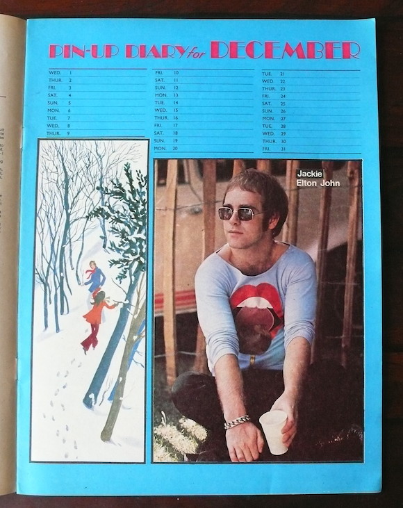 Mr Freedom designs produced under Myles' former partner Tommy Roberts appeared elsewhere in the same issue. Here customer Elton John sports an appliqued top
