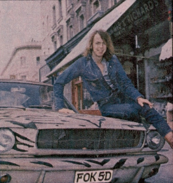 Myles on his tiger-strip flocked 1966 Ford Mustang Pony car. Photographer uncredited
