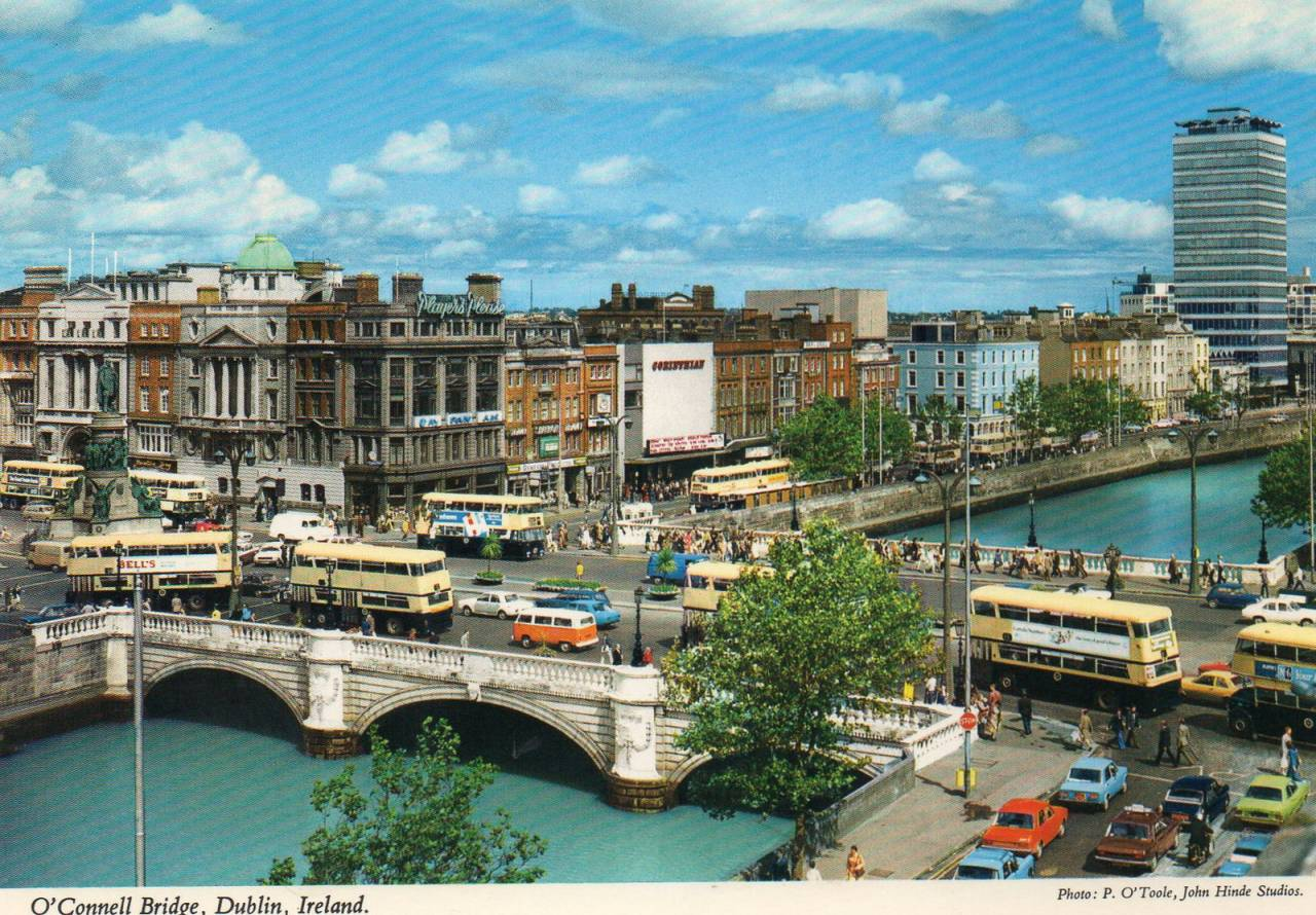 Dublin City and River Liffey, ca 1970s Postcard published by John Hinde Ltd (2/494) Photo by P. O'Toole, John Hinde Studios