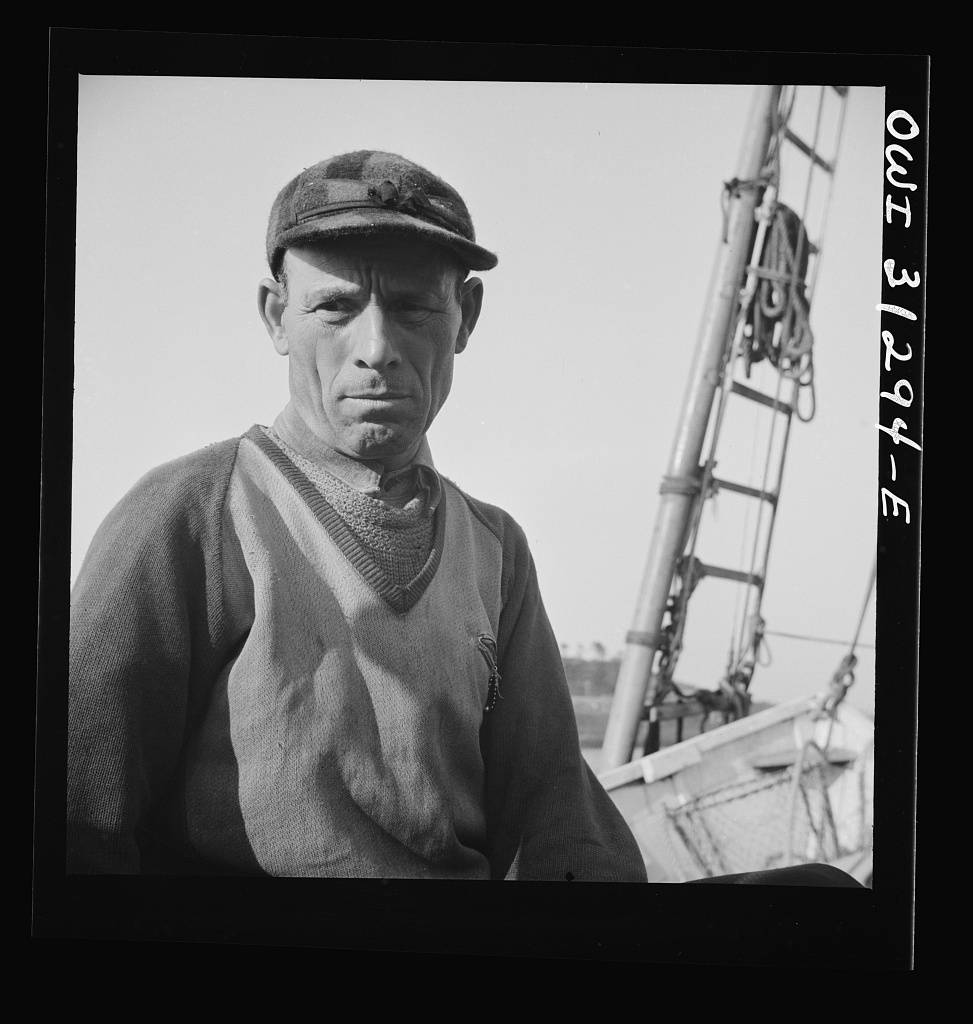 On board the fishing boat Alden out of Gloucester, Massachusetts. Antonio Tiano, Italian fisherman