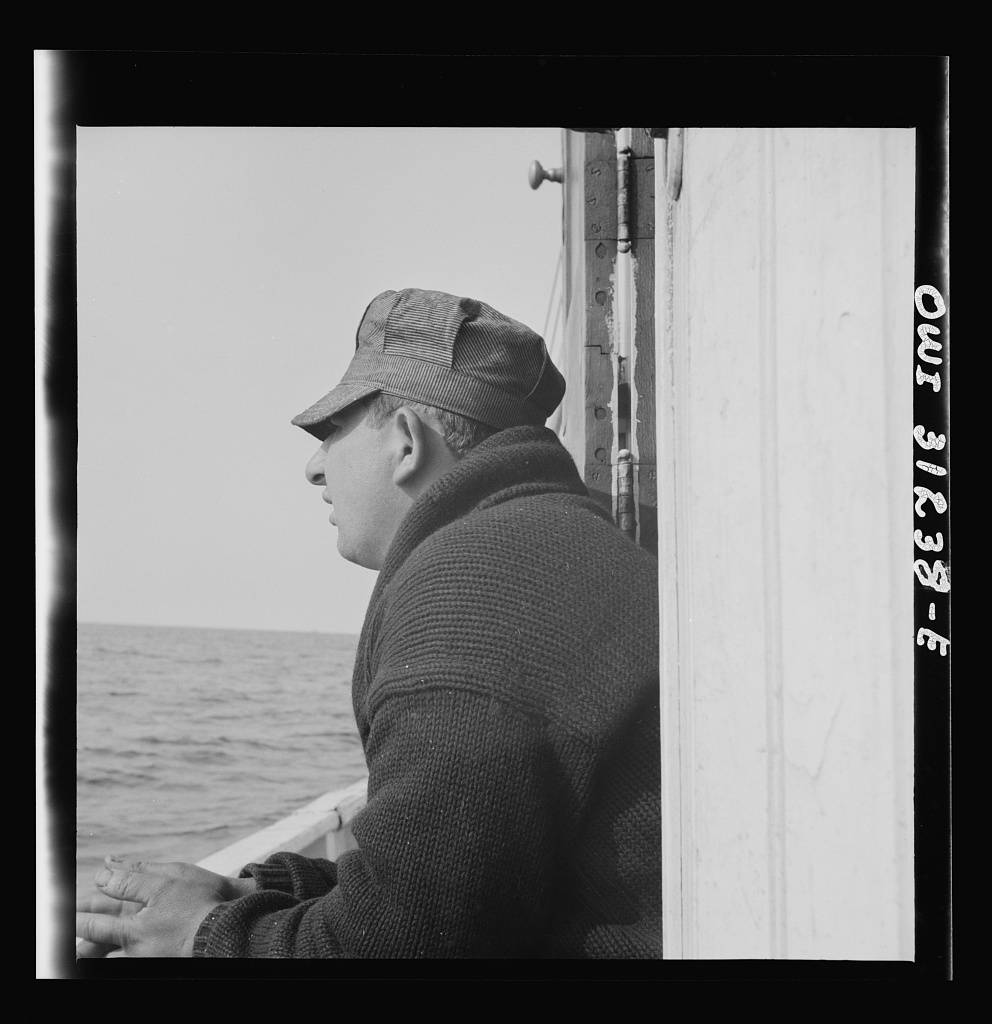 On board the fishing boat Alden out of Gloucester, Massachusetts. Pasquale Maniscaleo, engineer Gloucester, Massachusetts