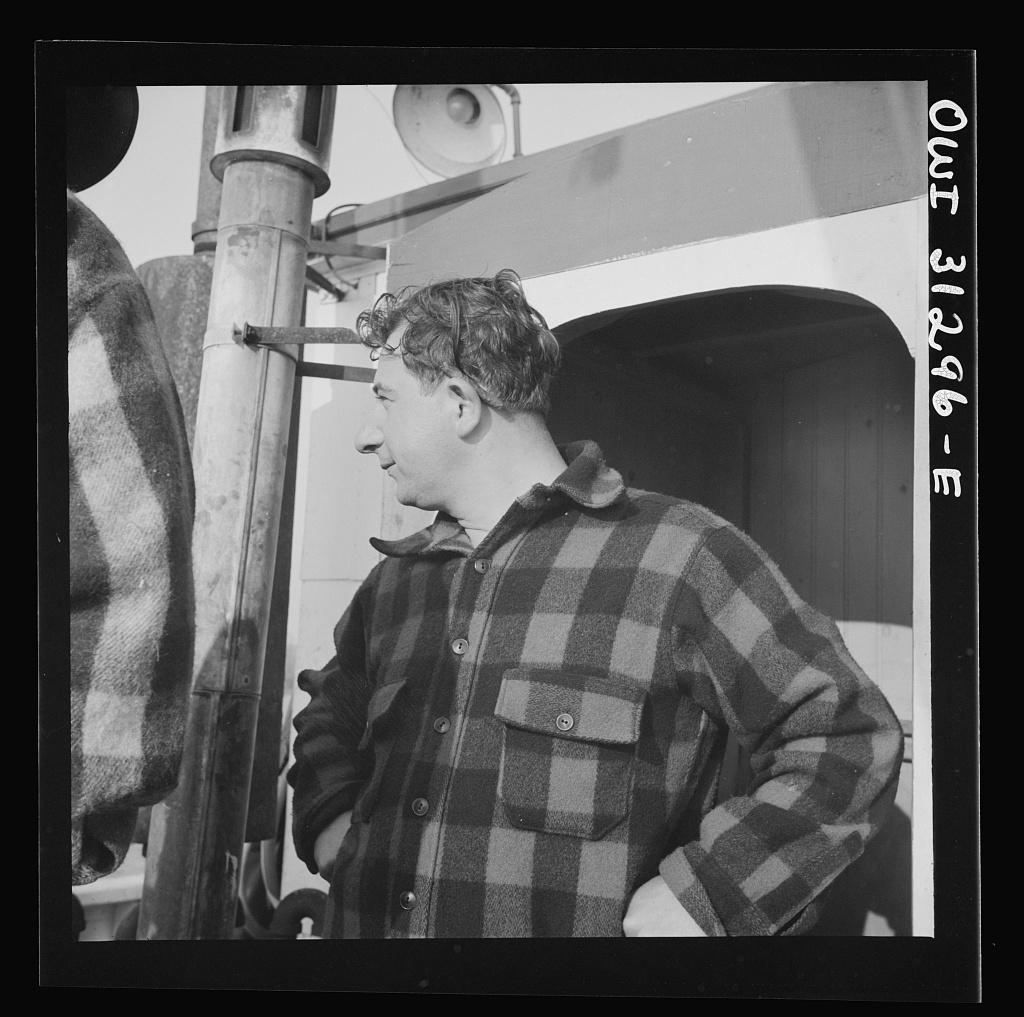 On board the fishing boat Alden out of Gloucester, Massachusetts. Pasquale Maniscaleo, enginee