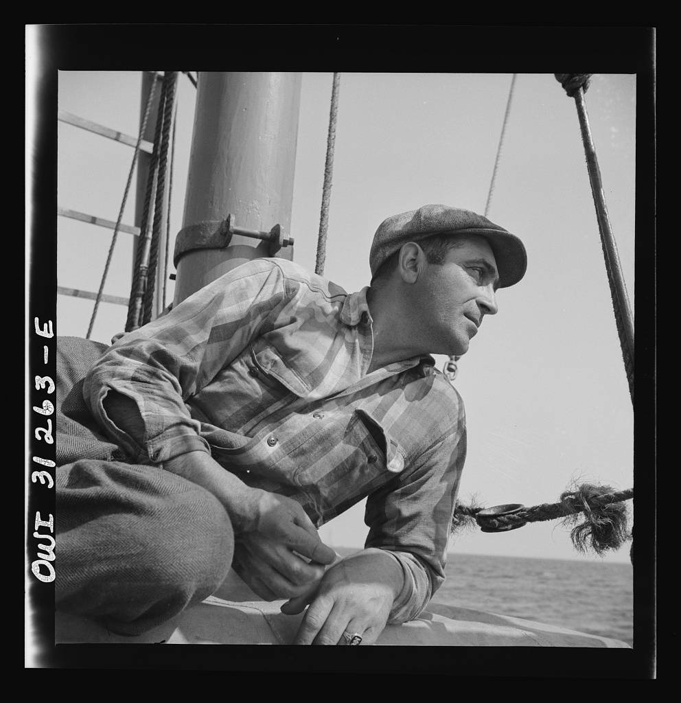 On board the fishing boat Alden out of Gloucester, Massachusetts. Vito Coppola, cook