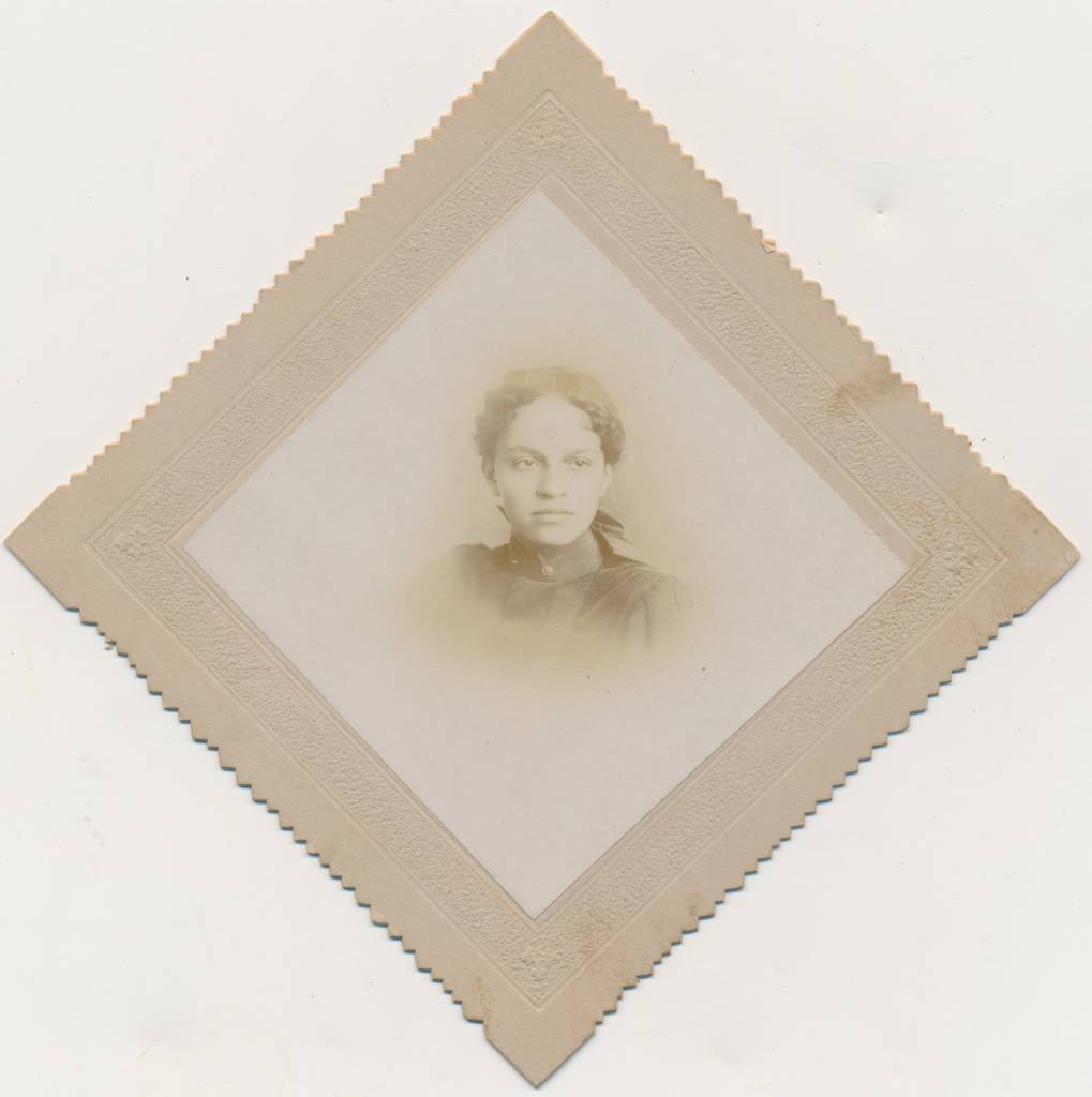 "The off-center framing of the image does not diminish this young woman's extraordinary beauty. She is ""Mabel I. Carson ,Age 16."" The date is given as Aprill 22, 1896. At a certain point I started buying the diamond photos on Ebay, so this may be one I saw there and felt I had to have. [Rare Beauty]"