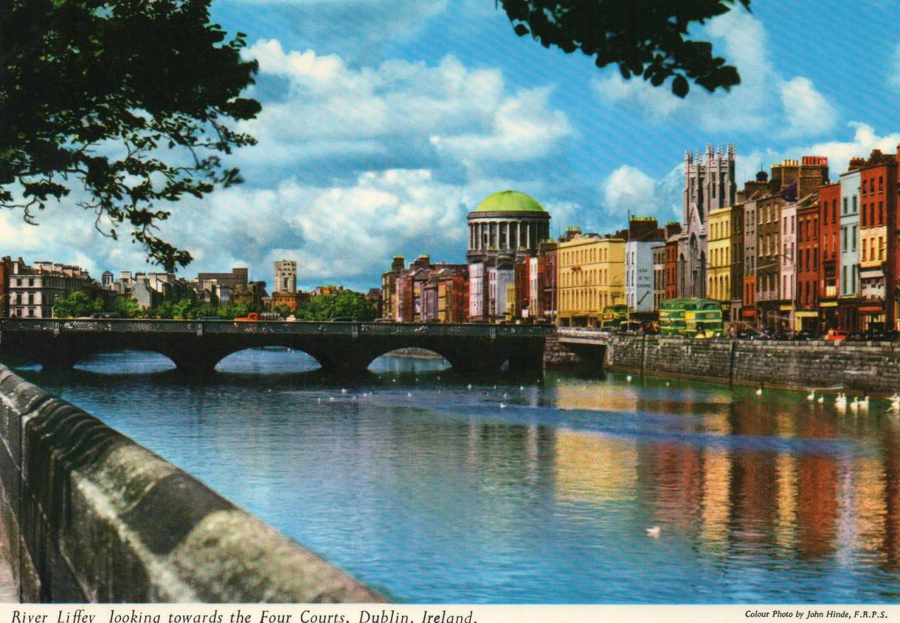 River Liffey, looking towards the Four Courts Postcard published by John Hinde Ltd, ca 1970s Photo by John Hinde F.R.P.S.
