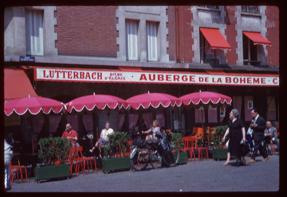 May 10, 1960. Sidewalk Café Montmartre PARIS