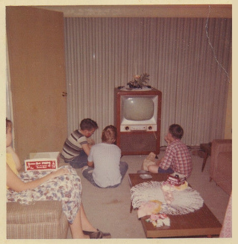 Found Photos Mid Century People Standing By Modern Tvs
