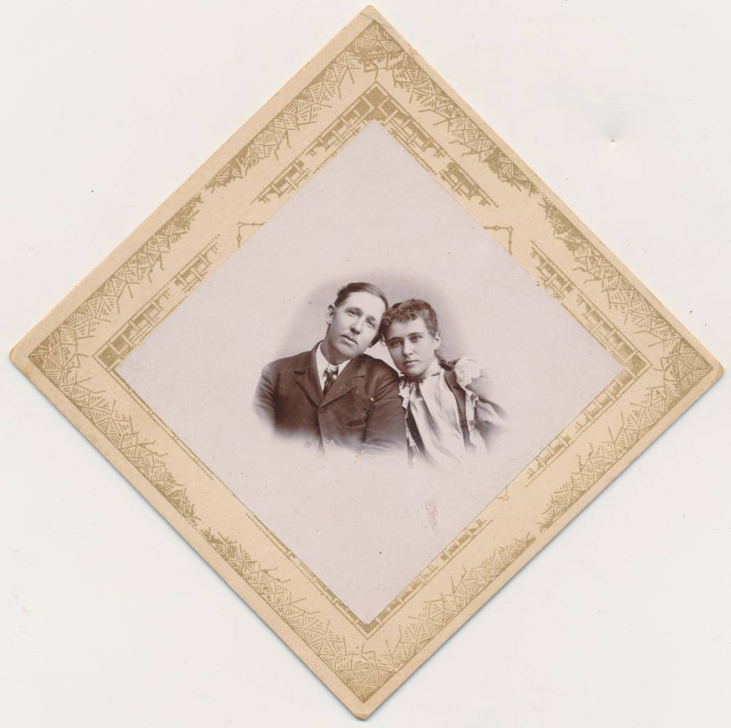 Most photos in diamond mounts weren't taken specifically to fit diamond mounts; at least that's my guess. Here is one that well might have been. This degree of affection between the couple is unusual, for the time period. Note that the card mount is the same as that for the Ada Church photograph. I don't think I bought the two photos together. The supplier for this card mount perhaps had wide distribution. [The Affectionate Couple]