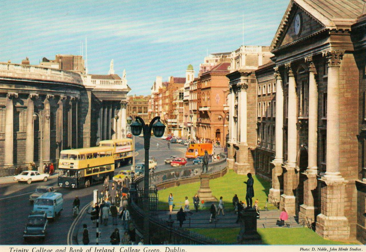 Trinity College and Bank of Ireland, College Green. Postcard published by John Hinde Ltd, ca 1970s Photo by D. Noble, John Hinde Studios.