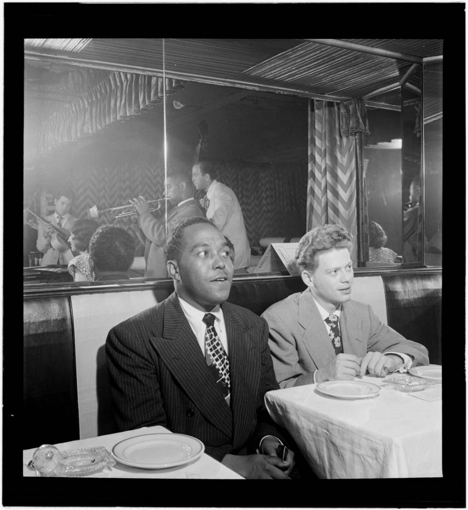 Portrait of Charlie Parker, Red Rodney, Dizzy Gillespie, Margie Hyams, and Chuck Wayne, Downbeat, New York, N.Y., ca. 1947