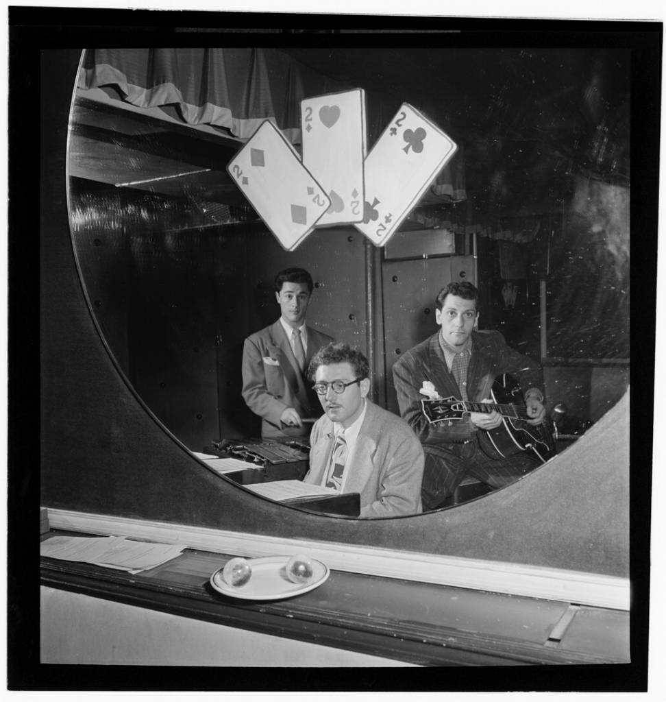 Portrait of Terry Gibbs, Harry Biss, and Bill (Buddy) De Arango, Three Deuces, New York, N.Y., ca. June 1947