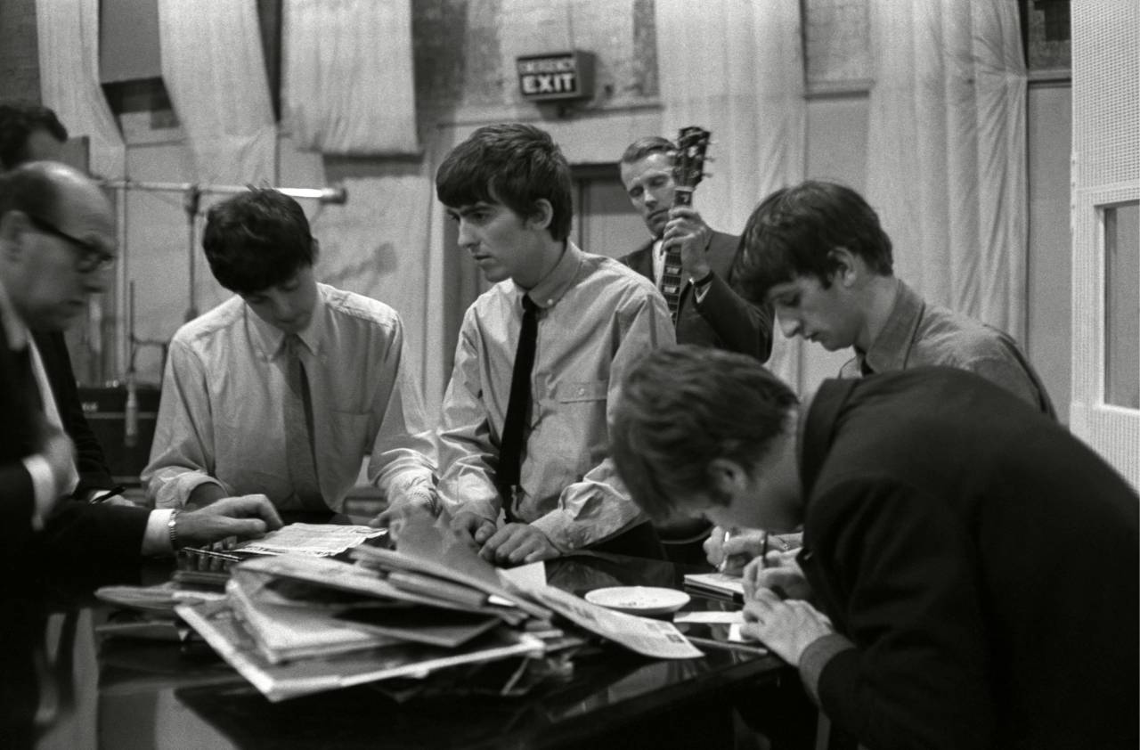 The Beatles in the studio with George Martin The Beatles at Abbey Road recording studios, London - 1960s