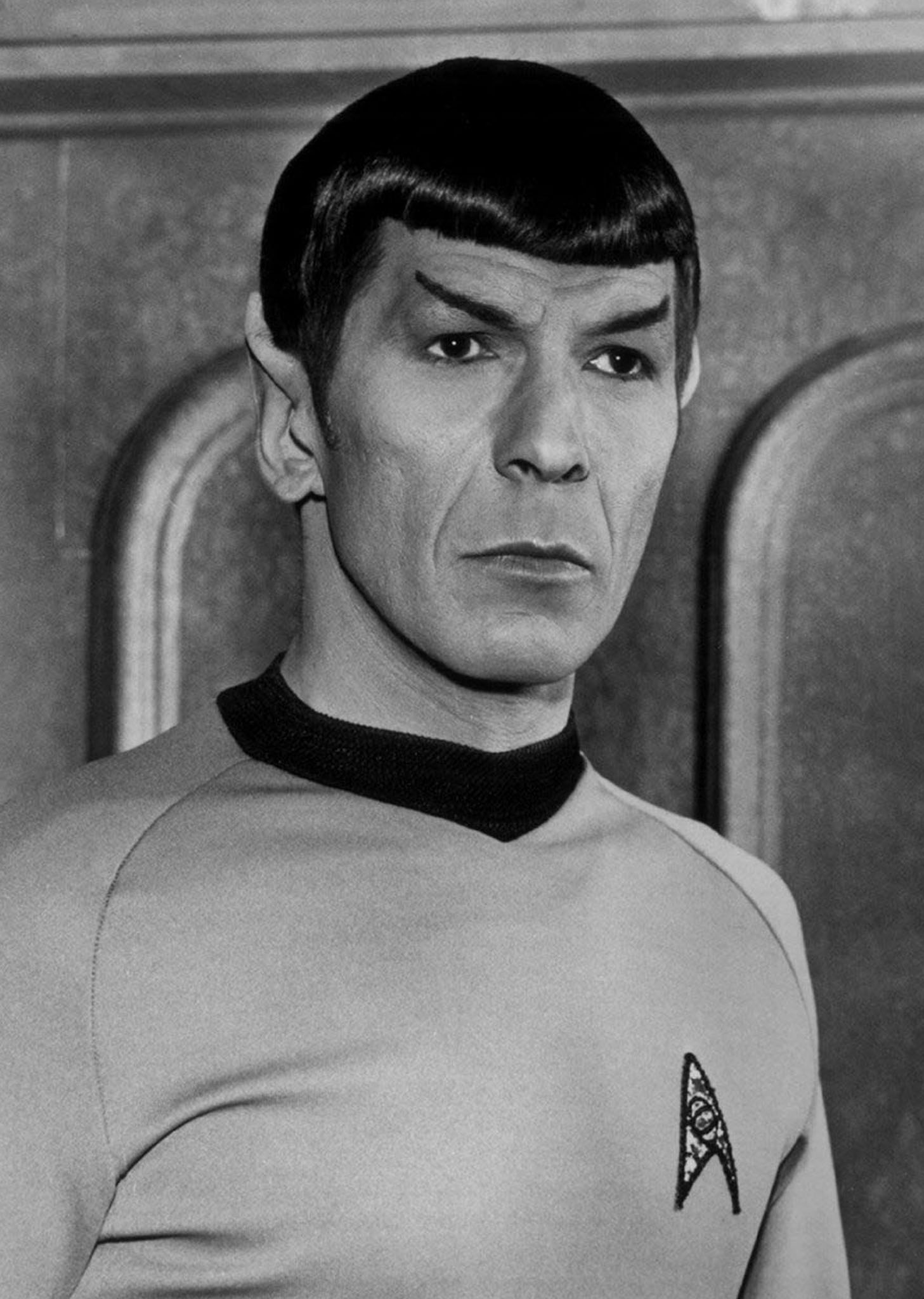 "Black and white photo. Christie's will auction off memorabilia from the 1960's television show ""Star Trek,"" including four pairs of vulcan ears worn by actor Leonard Nimoy as Ambassador Spock, pictured in an undated studio handout. The November 15, 2000 auction will include a Captain Kirk plaster mask made from William Shatner's face, signed photographs and posters, plus scripts from the first two ""Star Trek"" movies. The ""Trekker"" items are from the estate of Fred Phillips, make-up artist on the original series. REUTERS/Bettman Archives/File photo"