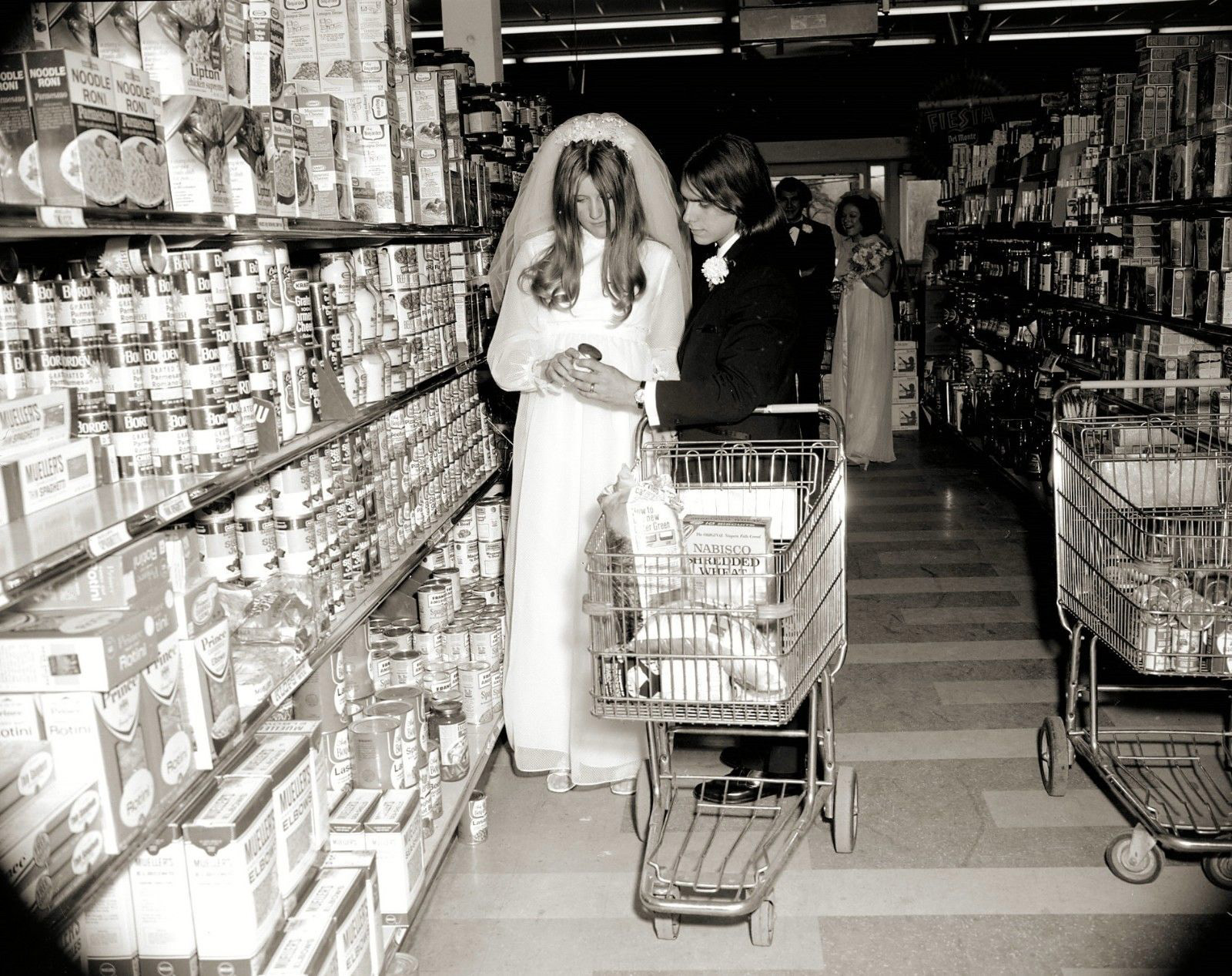 vintage wedding grocery store