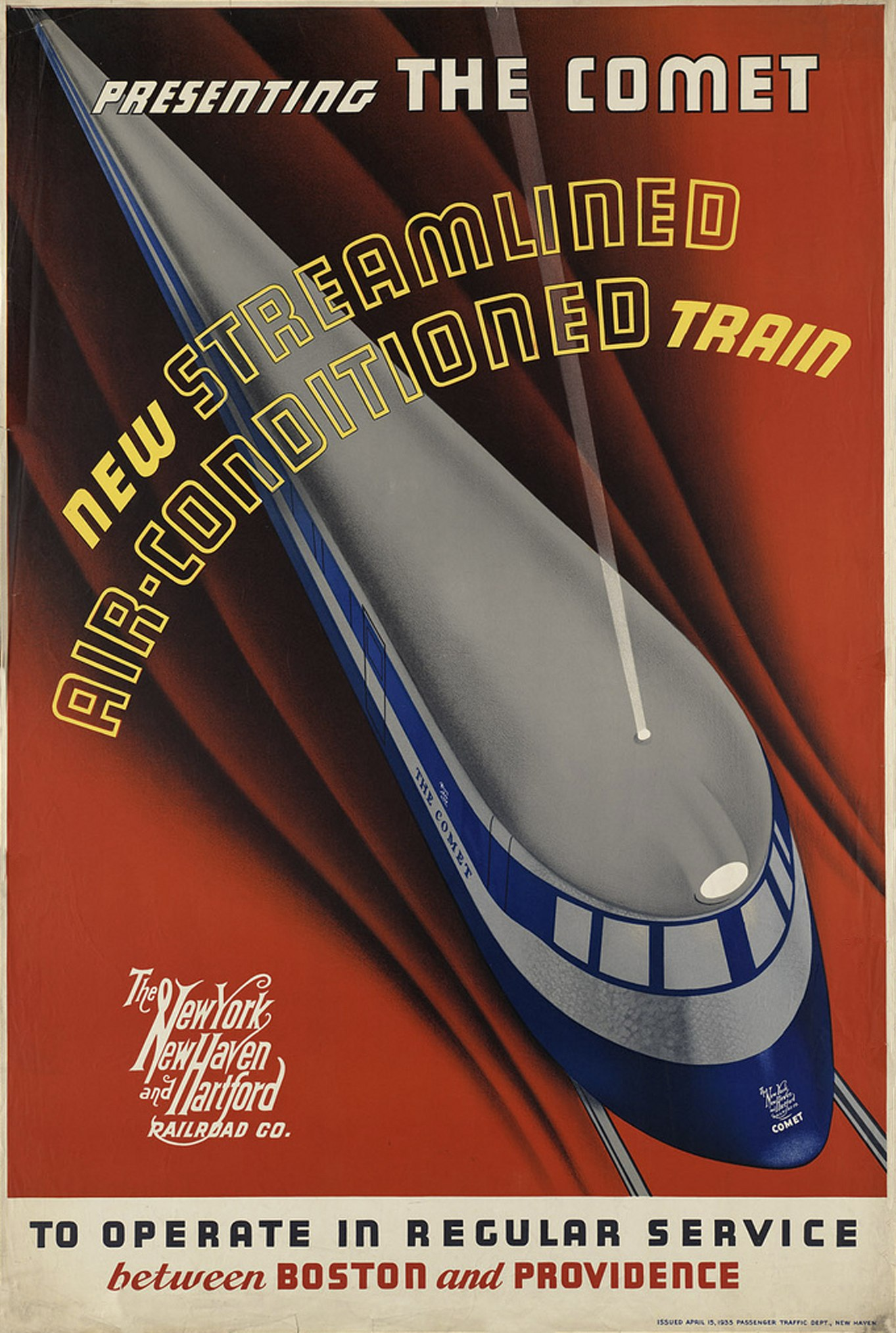 1935 Advertising Poster of The New York, New Haven and Harford Railroad Co named Presenting The Comet, New Streamlined Air-Conditioned Train