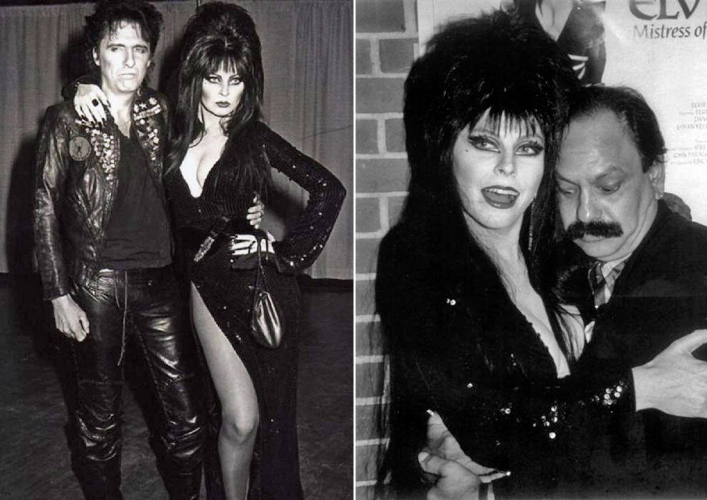 Elvira and Alice Cooper (L) and Cheech Marin (R)