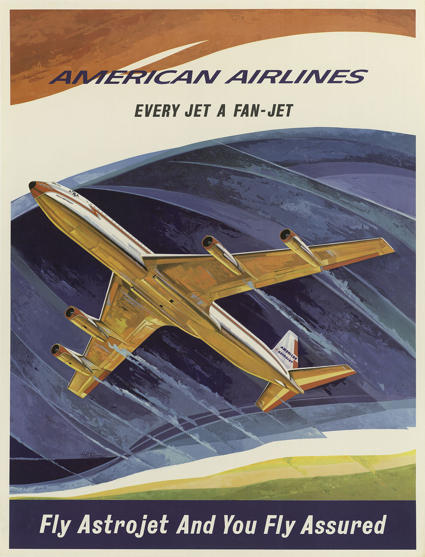 American travel poster airlines sixties