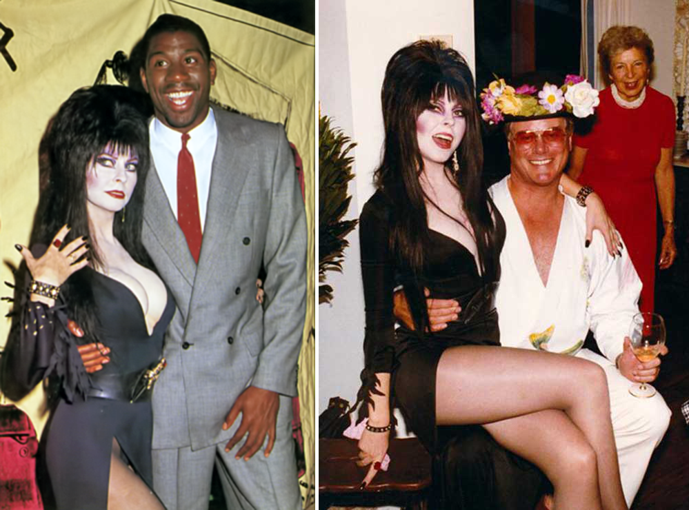 Elvira and Magic Johnson (L) and Larry Hagman (R)