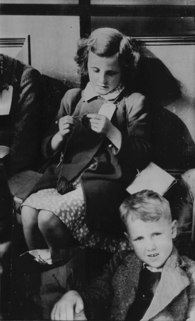 May Fitzpatrick Sits Knitting As She Waits Along With Hundreds Of Other Children At Euston Station For An Evacuation Train That Will Take Them To Safety. *date Unknown*