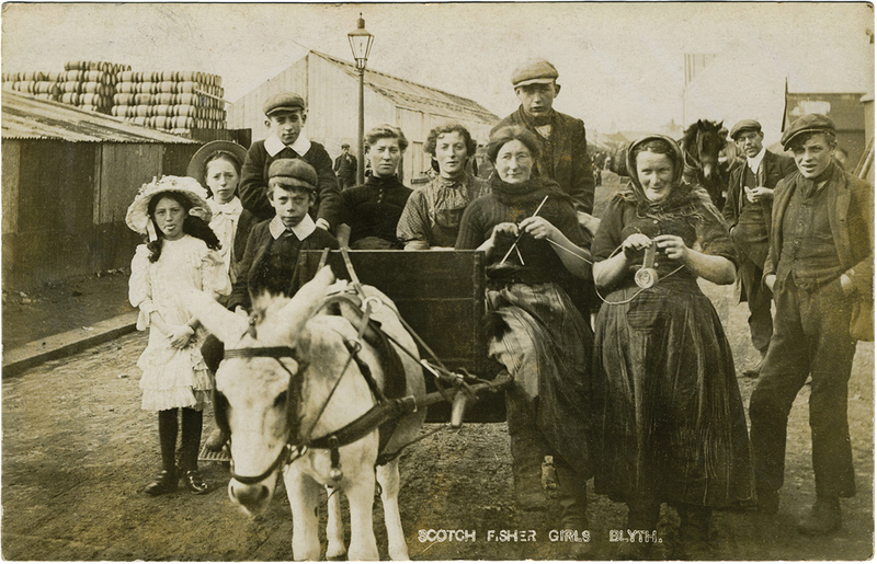 "Graham's photo postcard series, ""Scotch Fisher Girls,"" Blyth, England, c. 1915."