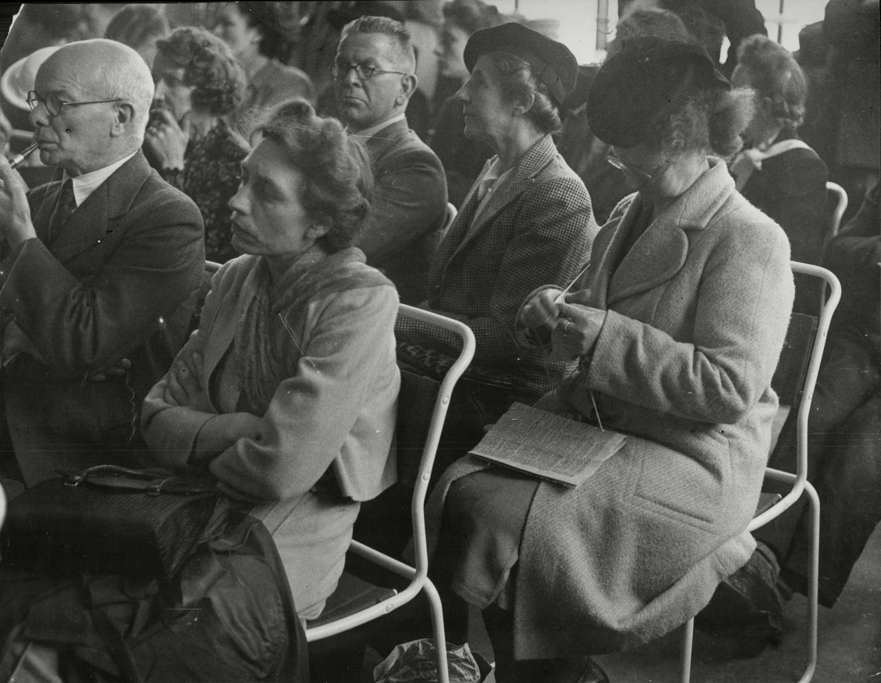 Labour Party Conference At Margate With Lady In Audience Knitting 1947.