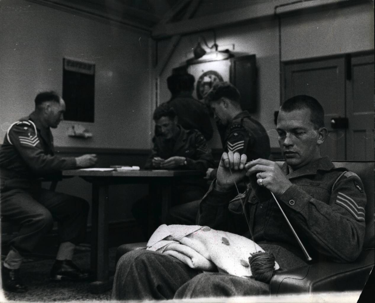 Off duty British soldier knitting