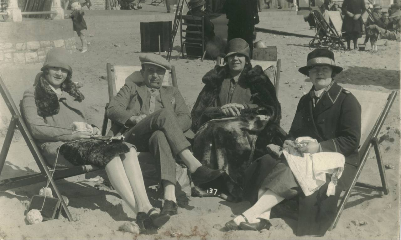 Photograph of seaside holiday makers postally used 1926