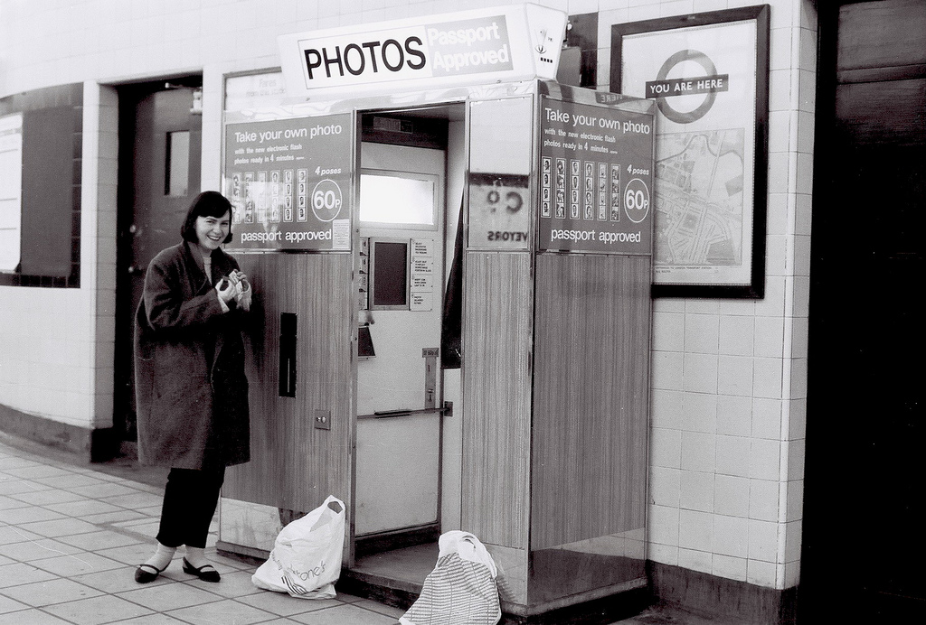 MARY WITH PHOTO BOOTH AT GREENFORD STATION,1984
