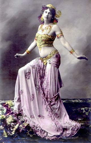Mata Hari, colored photograph postcard, 1899