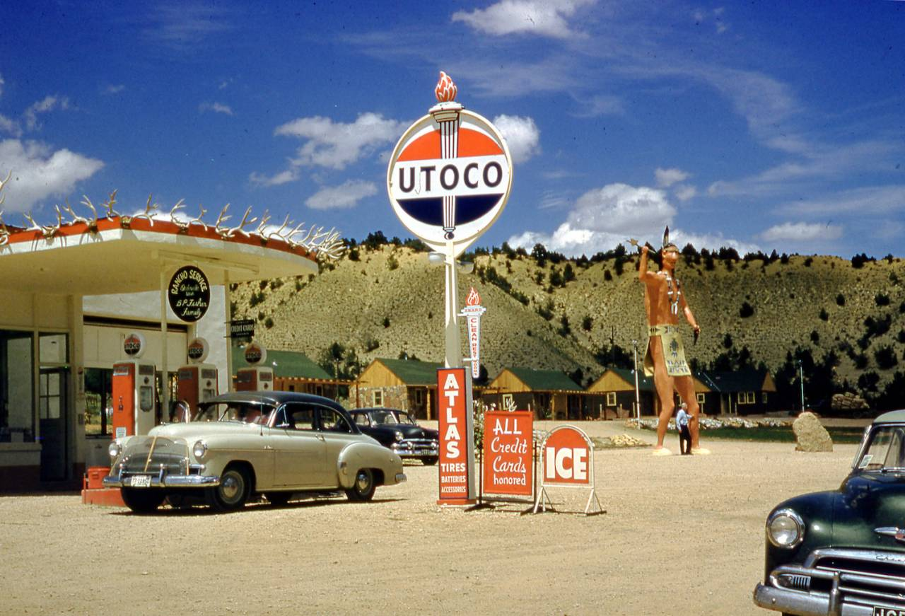 Max Leonard's Chevy BelAire at the Utoco station in Orderville, Utah in 1951. It is now the location of a museum.