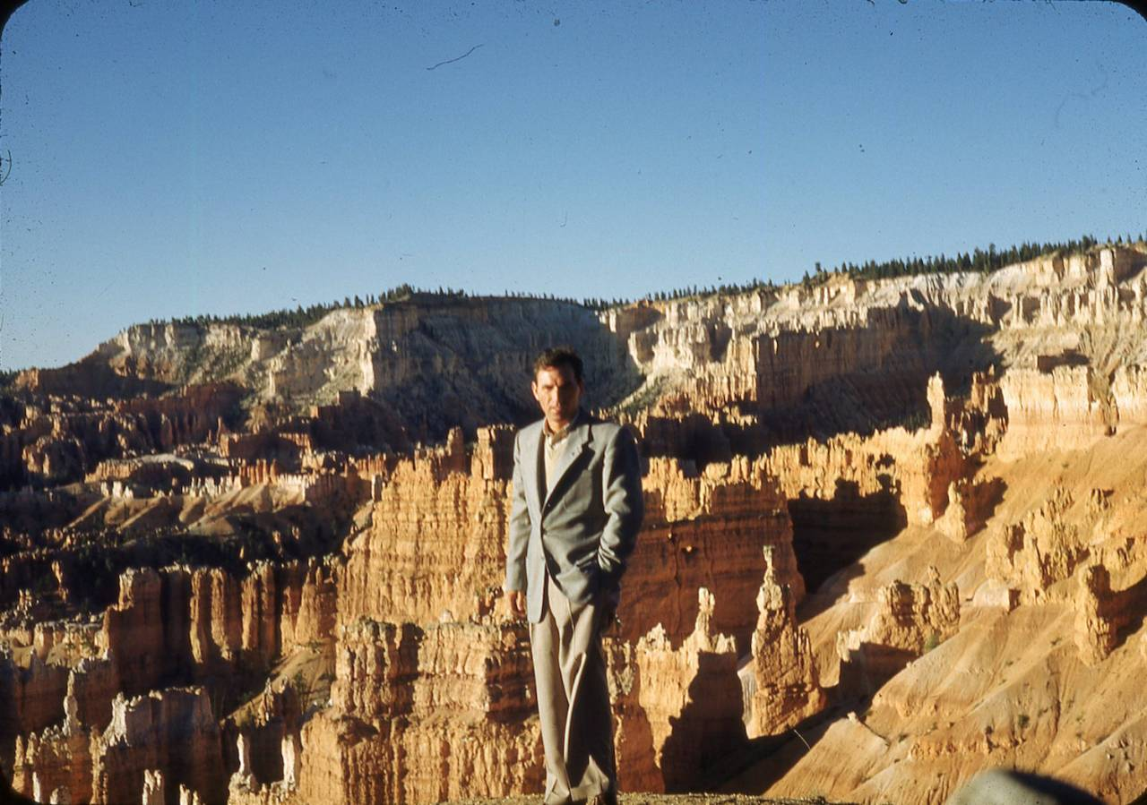 Max G. Leonard who lived in Price, Utah on a visit to Bryce Canyon in 1951.